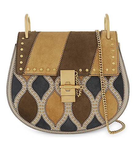 CHLOE Drew suede patch saddle bag (Pastel+grey+yellow