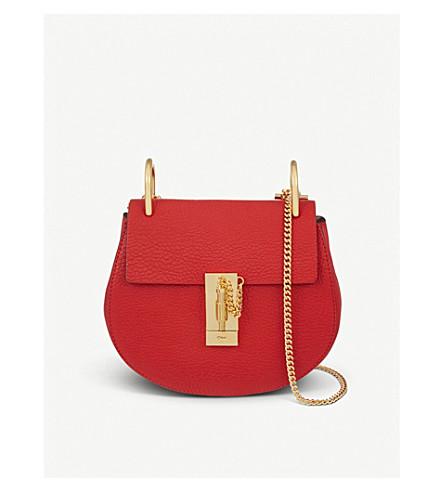 CHLOE Drew mini leather cross-body bag (Plaid red