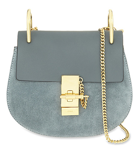 CHLOE Drew Mini suede cross-body bag (Cloudy blue