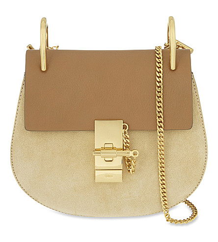 CHLOE Drew Mini suede cross-body bag (Milky+coffee