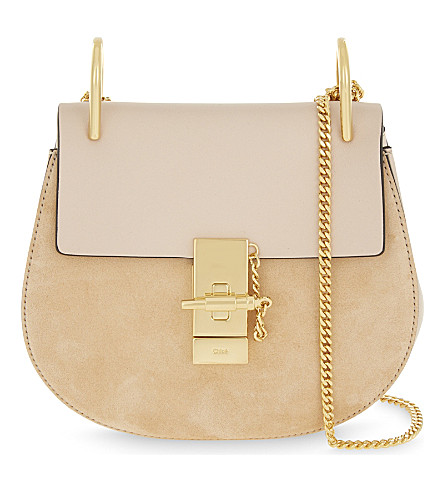 CHLOE Drew suede and leather cross-body bag (Cement+pink