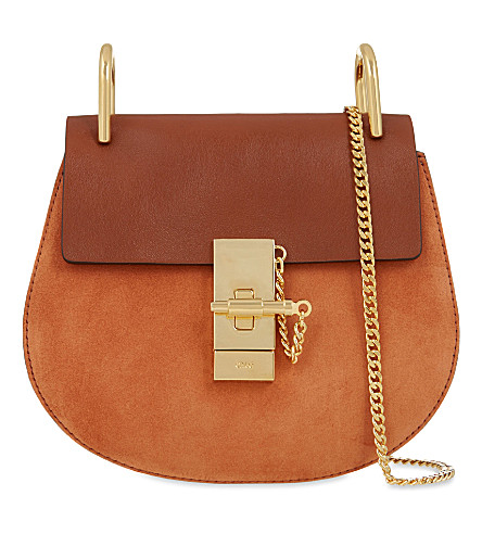 CHLOE Drew suede and leather cross-body bag (Tobacco