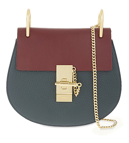 CHLOE Drew mini leather shoulder bag (Intense+green+sienna