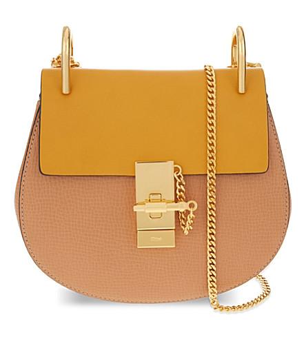 CHLOE Drew mini leather shoulder bag (Wetsand/sunflower