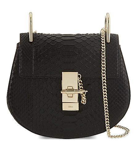 CHLOE Drew mini python shoulder bag (Black