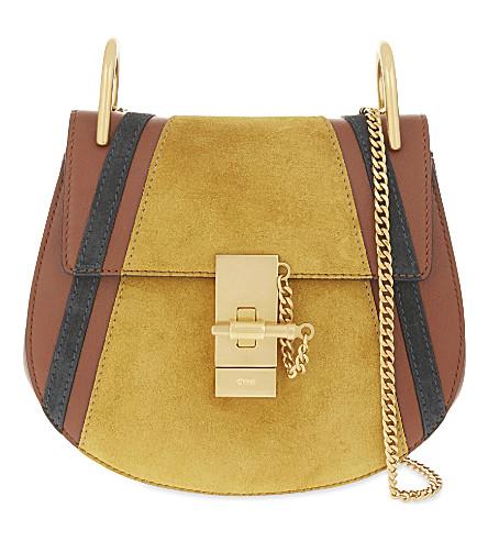 CHLOE Drew mini patchwork leather cross-body bag (Classic tobacco
