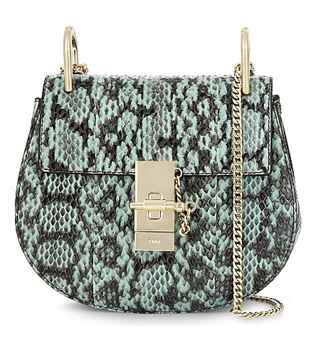 CHLOE Drew mini snakeskin cross-body bag (Happy+green