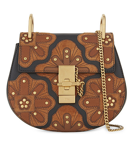 CHLOE Drew stud-flower mini leather cross-body bag (Black+tan