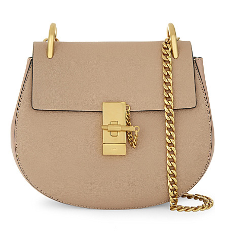 CHLOE Drew small grained leather saddle cross-body bag (Biscotti+beige
