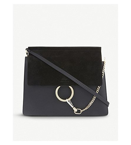 CHLOE Faye leather & suede cross-body bag (Black