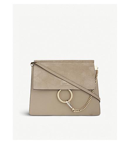 CHLOE Faye leather & suede cross-body bag (Motty grey