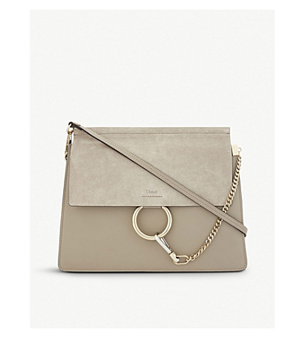 CHLOE Faye suede & leather satchel (Motty+grey