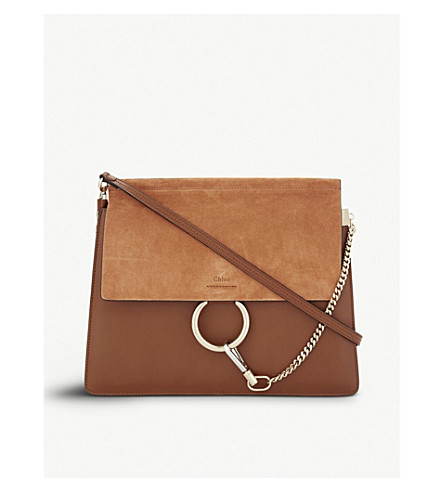 CHLOE Faye medium leather and suede satchel (Tobacco