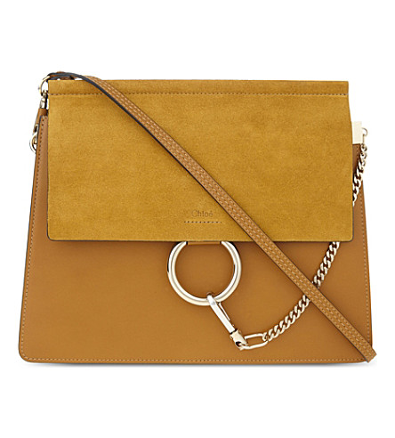CHLOE Faye leather & suede cross-body bag (Mustard+brown
