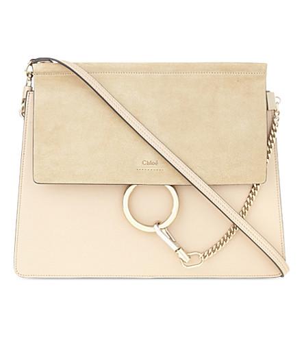 CHLOE Faye leather & suede cross-body bag (Pearl+beige