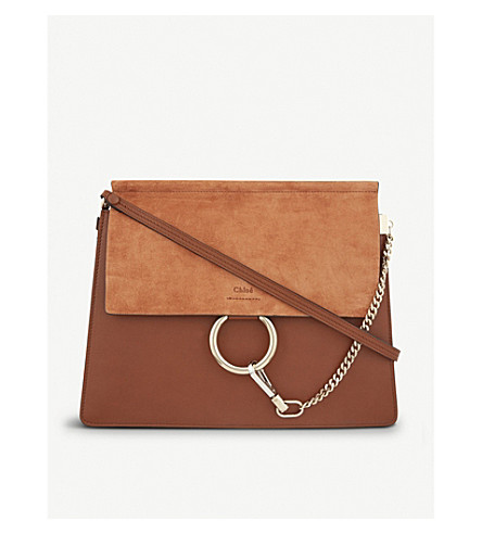 CHLOE Faye leather & suede cross-body bag (Tobacco