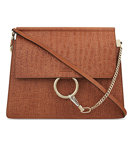 CHLOE Faye medium crocodile embossed shoulder bag (Mahogany