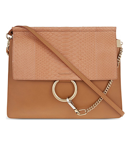 CHLOE Faye python & leather satchel (Milky coffee