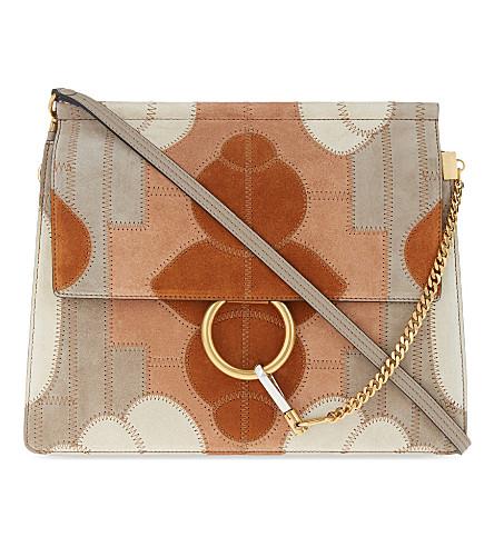 CHLOE Faye medium suede satchel (Motty grey