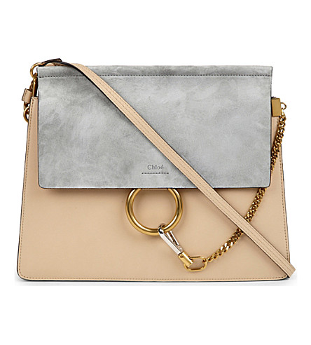 CHLOE Faye suede & leather satchel (Pearl beige/grey blue