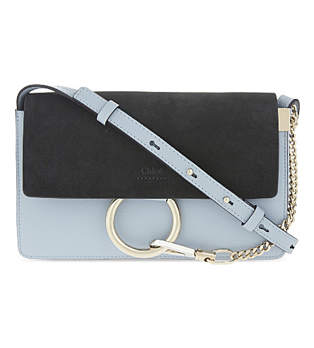 CHLOE Faye small leather suede clutch (Fresh+blue+green