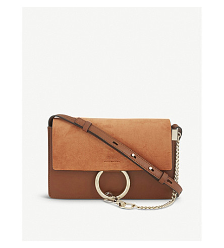 CHLOE Faye small leather suede clutch (Tobacco