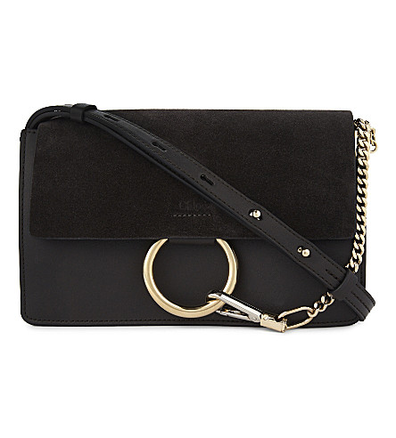 CHLOE Faye small leather shoulder bag (Carbon+grey