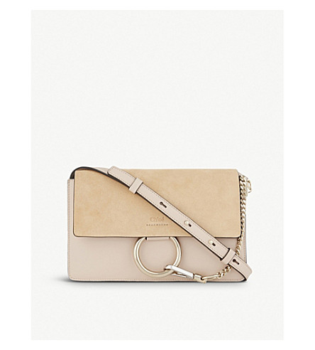 CHLOE Faye small leather shoulder bag (Cement+pink