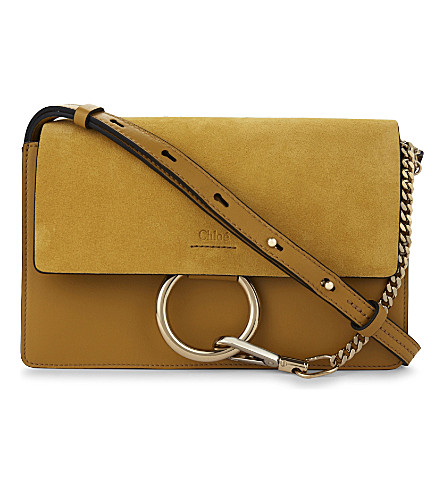 CHLOE Faye small leather shoulder bag (Dusty yellow