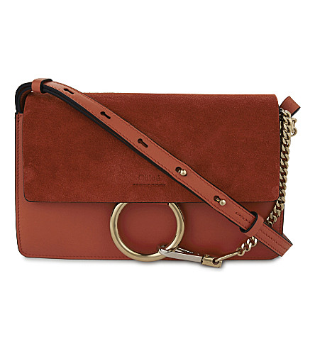 CHLOE Faye small leather shoulder bag (Sepia red