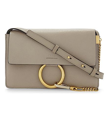 CHLOE Faye small leather satchel (Motty grey