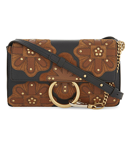 CHLOE Faye stud and flower small leather and suede cross-body bag (Black+tan