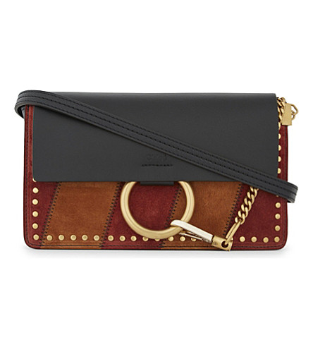 CHLOE Faye small suede cross body bag (Black+red+tobacco