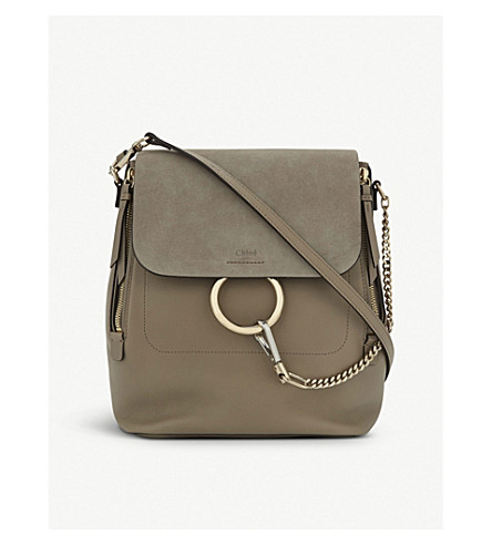 CHLOE Faye leather & suede backpack (Motty+grey