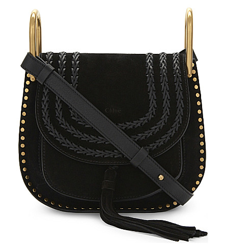 CHLOE Hudson small suede cross-body bag (Black
