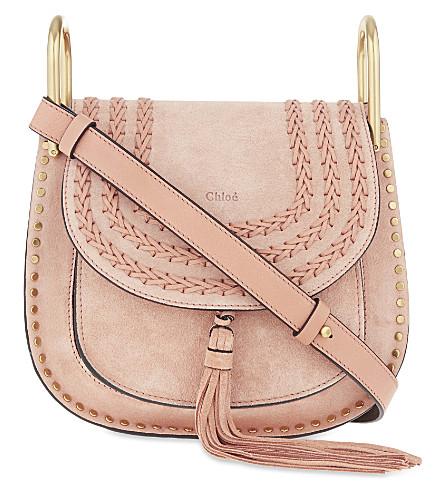 CHLOE Hudson small suede cross-body bag (Sheer pink