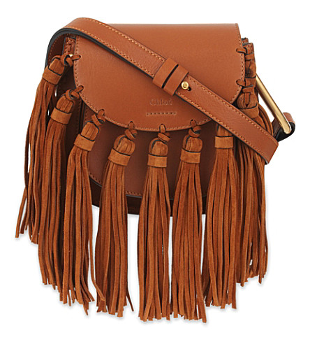 CHLOE Mini Hudson leather clutch bag (Caramel