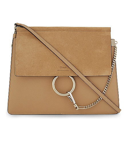 CHLOE Faye leather & suede cross-body bag (Blushy+pink