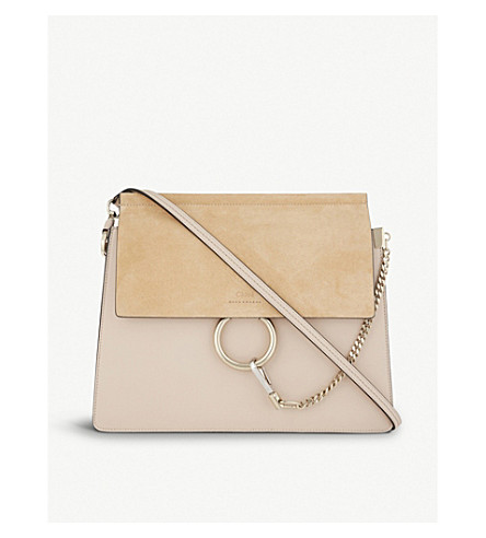 CHLOE Faye leather & suede cross-body bag (Cement+pink