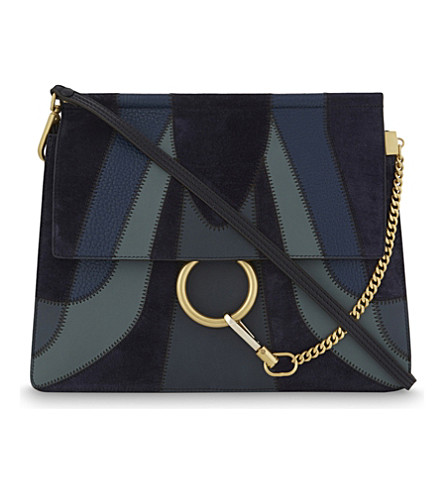CHLOE Faye leather & suede cross-body bag (Full+blue