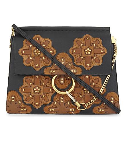 CHLOE Faye stud-flower medium leather cross-body bag (Black+tan