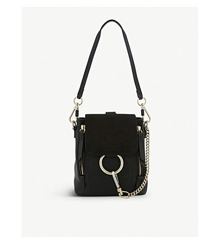 CHLOE Faye mini leather & suede backpack (Black
