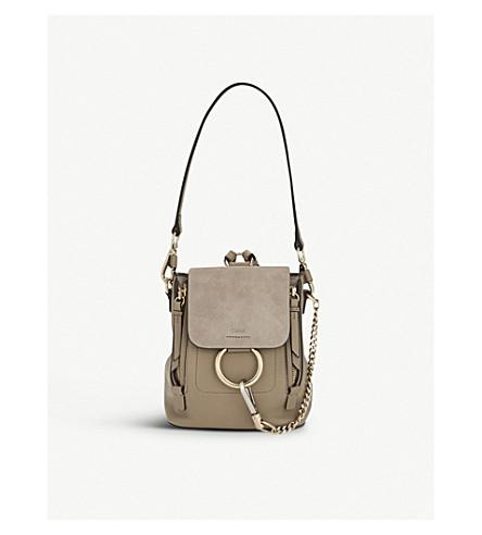 CHLOE Faye mini leather & suede backpack (Motty grey