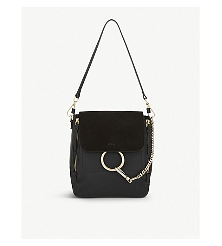 CHLOE Faye small leather backpack (Black
