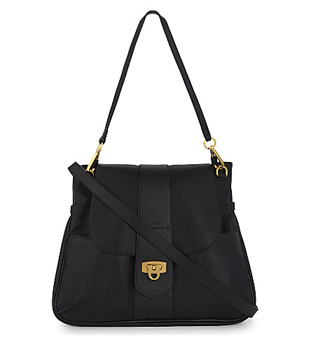 CHLOE Lexa medium grained leather satchel (Black