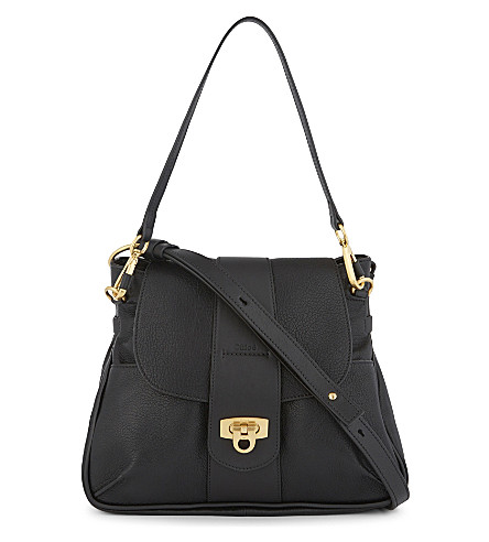 CHLOE Lexa grained leather cross-body satchel (Black