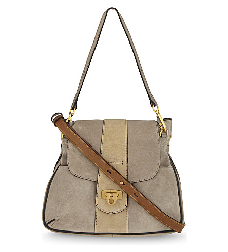 CHLOE Lexa small suede cross-body bag (Motty+grey