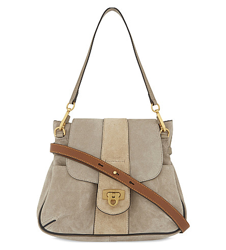CHLOE Lexa suede shoulder bag (Motty+grey