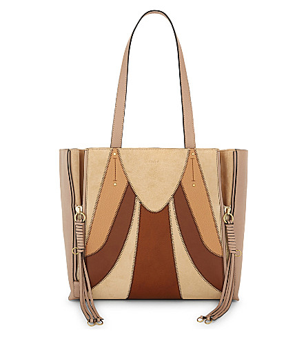 CHLOE Milo patchwork suede and leather tote (Biscotti+beige