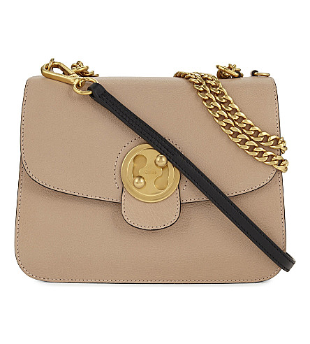 CHLOE Mily medium leather shoulder bag (Biscotti+beige+pink